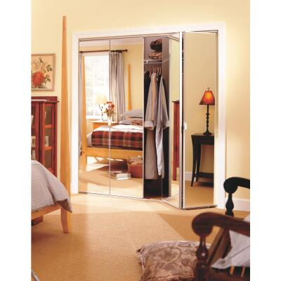 Erias Series 4900 36 In. W. x 80-1/2 In. H. Steel Frameless Mirrored White Bifold Door