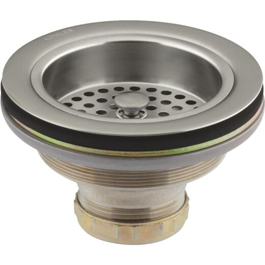 Kohler Duostrainer 3-1/2 In. to 4 In. Opening Basket Strainer Assembly in Vibrant Brushed Nickel Finish