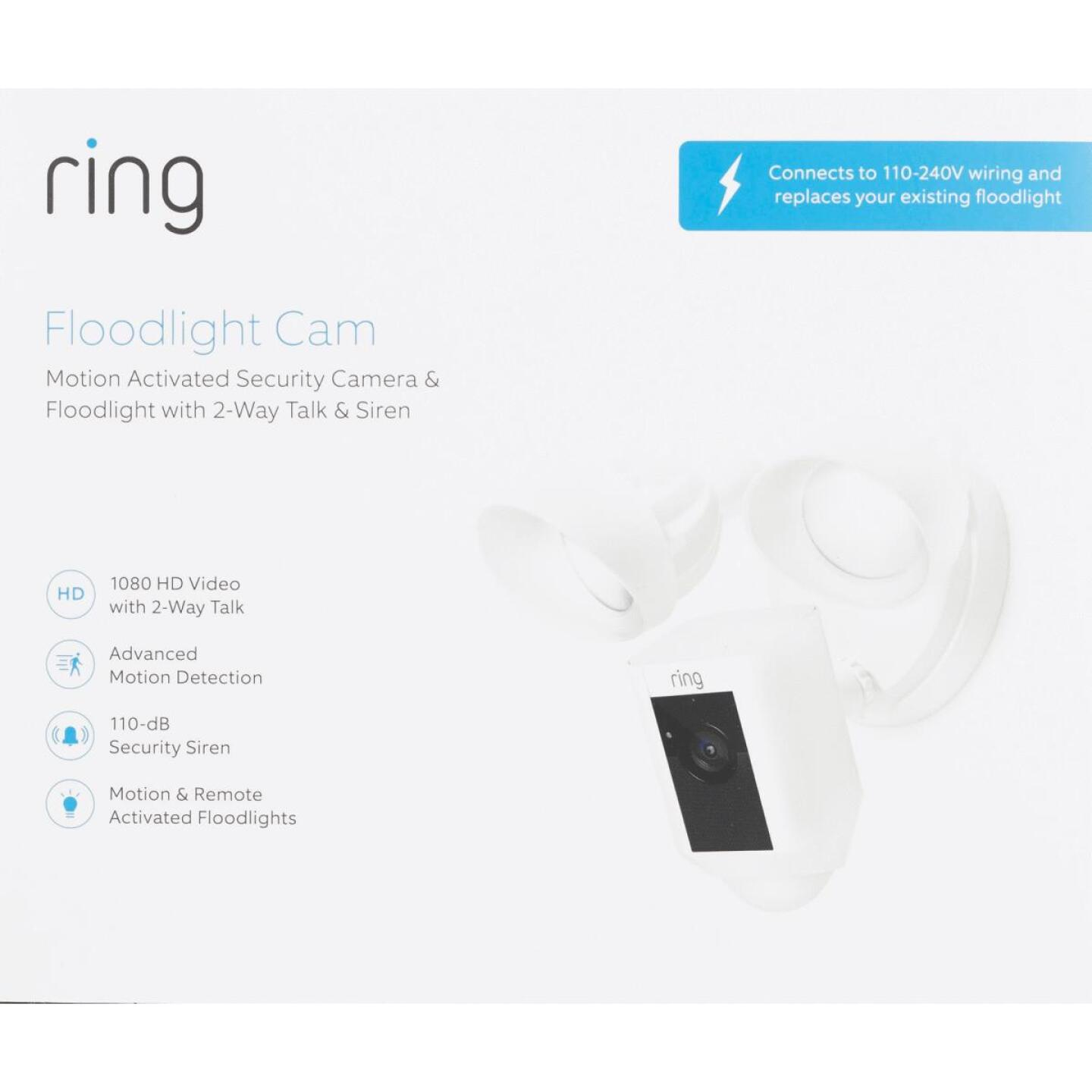 Ring Hardwired Outdoor White Security Camera with Floodlight Image 2